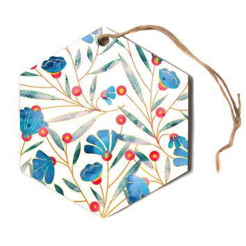 "83 Oranges ""Bluebella"" Blue White Nature Floral Illustration Watercolor Hexagon Holiday Ornament"