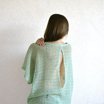 Pastel Green Outfit  Backless Top / Blouse / Shirt / Tunic Grayed Yade Knitted Sheer Linen, Custom Sizes And Colors