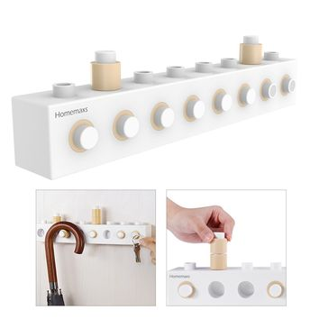 Homemaxs DIY Assembling Building Blocks Wall Hooks Stick On Self Adhesive Towel Coat Key Hanger Rack Wall Mount Garage Storage Organizer