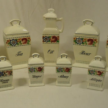 Bruhl 3826 Vintage German 13 Piece Kitchen Cannister & Spice Set Ceramic  -- Used
