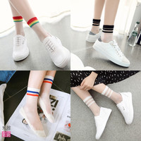 Spring Summer Style Women Transparent Socks New Japanese Harajuku Striped Crystal Socks Japan Glass Silk Sock Calcetines Mujer