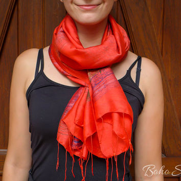 Hand Painted Scarf, Red Hand Painted Scarf, Silk Scarf Red, Dyed Scarf Red, Hand Dyed Scarf Red, Thai Silk Scarf Red, Thai Silk, - C1