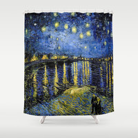 Vincent Van Gogh Starry Night Shower Curtain by PureVintageLove