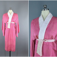 Vintage Kimono / Silk Kimono Robe / Dressing Gown / Long Robe / Downton Abbey / Art Deco / Vintage Juban Nagajuban / SUMMER EVENING