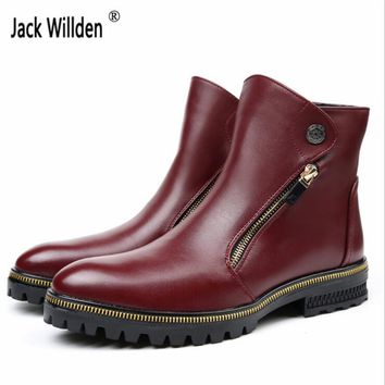 2017 Fashion Men's Genuine Leather Ankle Boots Man Metal Pointed Toe Punk British Style Chelsea Boot Mens Casual Shoes
