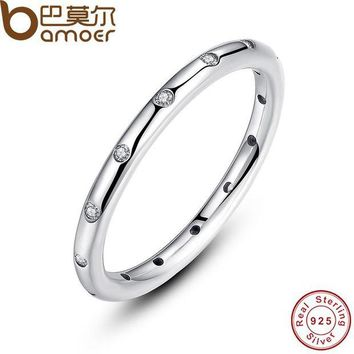 ac spbest BAMOER 925 Sterling Silver Droplets Stackable Finger Classic Ring for Women Wedding Original Fine Jewelry PA7132