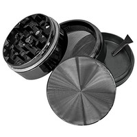 """Goliath Industry #1 Best Herb, Spice, Tobacco Leaves & Weed Grinder With Pollen Catcher 2"""" - Made Of Durable Titanium - 4 Chambers & 36 Sharp, Diamond Shaped Teeth (Gun Metal)"""