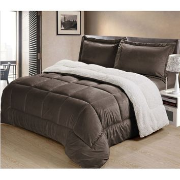 Home Collection Reversible Comforter Set (US Seller) -  Luxury Reversible Micro Mink and Sherpa Comforter Set - Box Stitching De