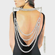 Silver Clear Elegant Draping Back Drop Crystal Necklace