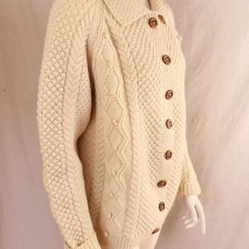 Shop Cream Cable Knit Cardigan on Wanelo