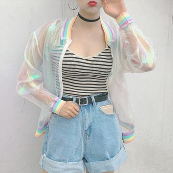 Trendy Winter Jacket 2018 Women Harajuku Summer Colorful Color Rainbow Collar Loose Baseball Sunscreen  Female Cute Japanese Kawaii er Coat AT_92_12