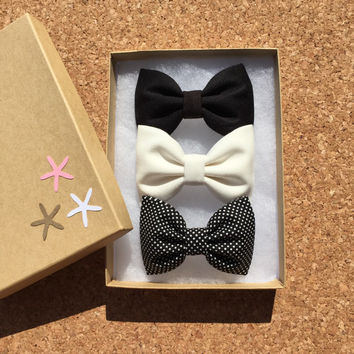 Off white, black, and tiny black with white dot hair bow set from Seaside Sparrow. Hair bows for girls hair bows for teens gift for her hair