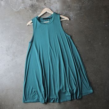 Final Sale - BSIC - sleeveless swing dress - teal