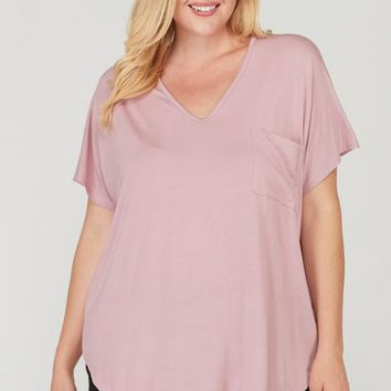 Dusty Pink Pocket Bamboo Top| Plus