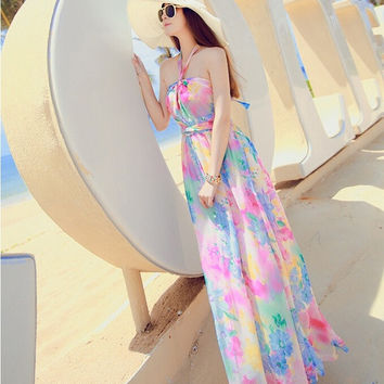 2015 New Halter strapless chiffon dress bohemian dress seaside resort beach dress