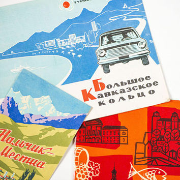 Vintage travel guides Soviet era set 3, Caucasus Mountains travel, Nalchik travel, Slovakia former part of Czechoslovakia, guides in Russian
