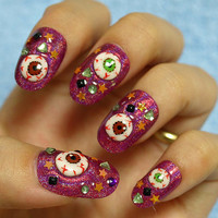 Halloween costume Japanese 3D nails eyeballs on pink by Aya1gou