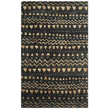 Bohemian Contemporary Indoor Area Rug Black / Gold
