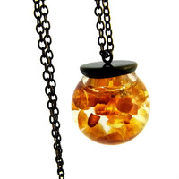 Floating amber necklace - floating real amber in glass orb - delicate on short necklace. Elegant jewelry for her.