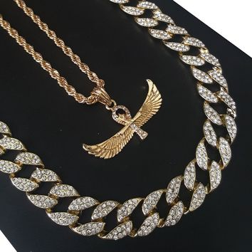 "14k Gold PT Egyptian AnkhCross Horus 15mm Iced Out Miami Cuban 30"" Necklace S187"