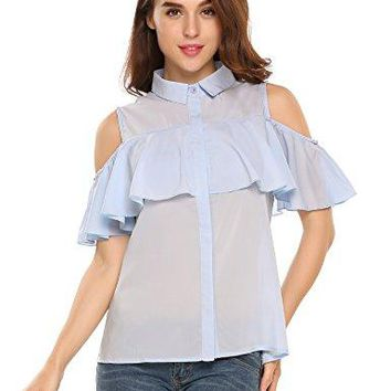 Zeagoo Women Cold Shoulder Ruffles Chiffon Button Down Blouse Tops Shirt