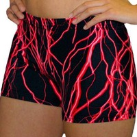 Bright Red Lightning Bolt Printed Spandex Compression Short