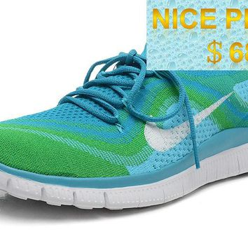 2018 Purchase Women Nike Free Flyknit+ 5 Neon Green Pure Platinum sneaker