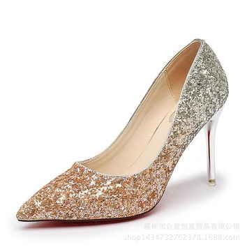 Shinning Crystal Gradient Pointed Toe High Stiletto Heel Party Shoes
