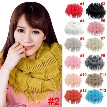 Hot New Fashion Womens Winter Warm Knitted Layered Fringe Tassel Neck Circle Shawl Snood Scarf Cowl