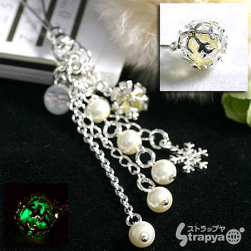 Okinawa Chura Stone Glow-in-the-dark Snow Ball Cell Phone Strap Japanese Cell Phone Strap Charm Pearl Jewelry (Yellow)- 188-CHURA-PEARL-YL