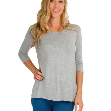 HGREY HI-LO TUNIC TOP WITH SIDE SLITS