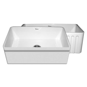 Quatro Alcove reversible fireclay sink with a decorative 2 ½ inch lip on one side and a fluted front apron on the opposite side