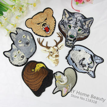 1 PCS Giraffe Animal Clothes Embroidered Iron on Patches for Clothing DIY Stripes Motif Appliques Garment Wolf parches bordados