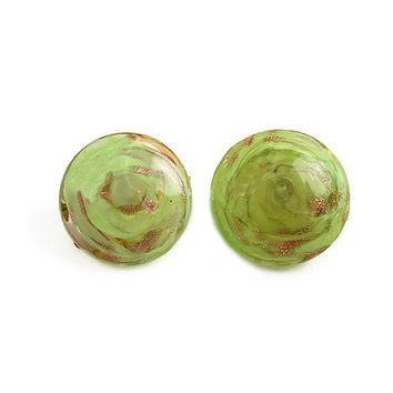 Murano Glass Earrings, Made in Italy, Chartreuse Green, Gold Aventurine, Button Style, Vintage Jewelry