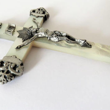 Antique French, Mother Of Pearl And Silver Crucifix, 1897, Large