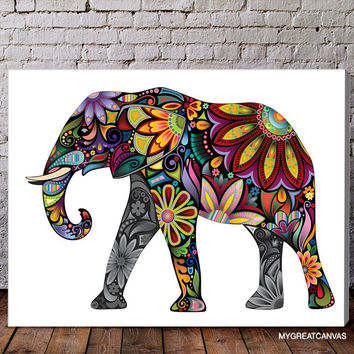 Colorful Abstract Cheerful Elephant Canvas Print - Flower Ornament Elephant Canvas Printing - Large Wall Art - Streched Canvas