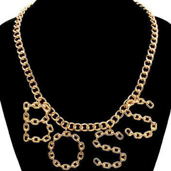 """Gold BIG """"BOSS"""" LINK CHAIN Statement Necklace WORD Metal DANGLE"""