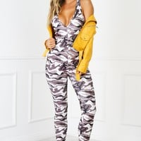 Party People Jumpsuit - Khaki Army