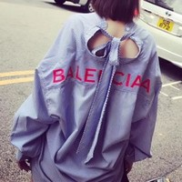 """Balenciaga"" Women Casual Logo Letter Print Stripe Cardigan Long Sleeve Shirt Tops"