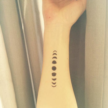 Temporary Tattoo | 9 Moonphases | Yoga Tattoo Art | Yoga Tattoo | Moon Tattoo | Fun Tattoo | Tattoo | Yoga | handmade by misssfaith