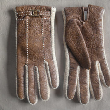 Vntg 80's Aris Snuggler Faux Leather Acrylic Knit Lined Gloves with Mini Brass Buckle Sz M