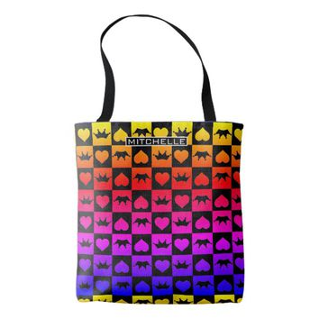 Personalized Love Rules Rainbowed Tote Bag