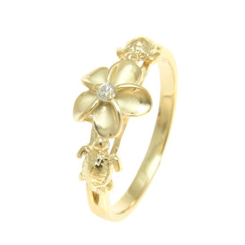YELLOW GOLD PLATED SILVER 925 HAWAIIAN PLUMERIA FLOWER SEA TURTLE RING CZ