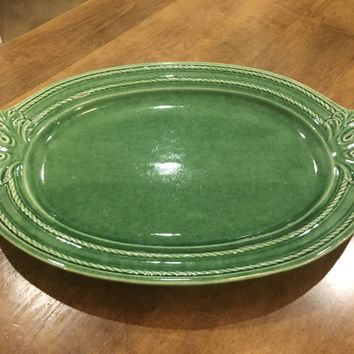 "Bombay Company XL Large 18"" Green Decorative Oval Platter Plate Made in Portugal"