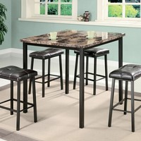 A.M.B. Furniture & Design :: Dining room furniture :: Faux marble dining table sets :: 5 pc Crossville II square faux marble and metal frame counter height dining table set