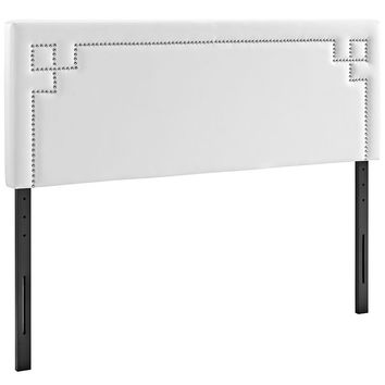 Modern Upholstered Diamond Nailhead Silver Button Trim Padded Fabric and Vinyl Headboards