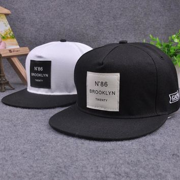 Trendy Winter Jacket 2018 New Men Womens BROOKLYN Letters Solid Color Patch Baseball Cap Hip Hop Caps Leather Sun Hat Snapback Hats Summer Black AT_92_12