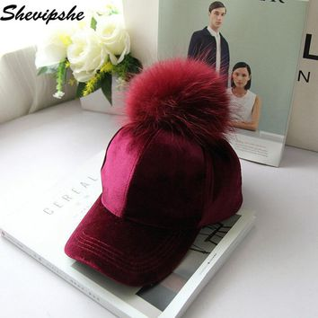 Women Winter pompom Snapback Ball suede baseball cap Real Raccoon Fur casual streetwear gorras casquette para el sol female hat