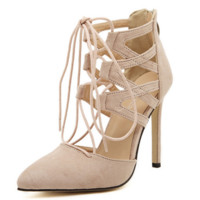 Women's shoes spring and summer new high-heeled shoes straps cross-thin with a single female shoes hollow
