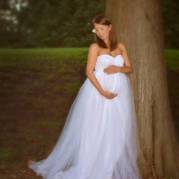 Steaphine  gown/Tulle maternity Gown, Tulle dress, Tulle prom dress, Tulle long dress